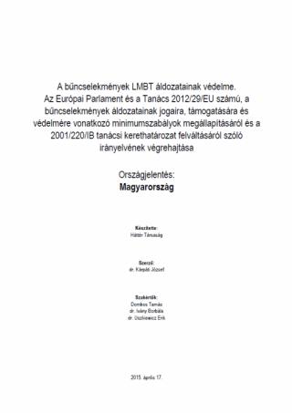 A bűncselekmények LMBT áldozatainak védelme (2016)